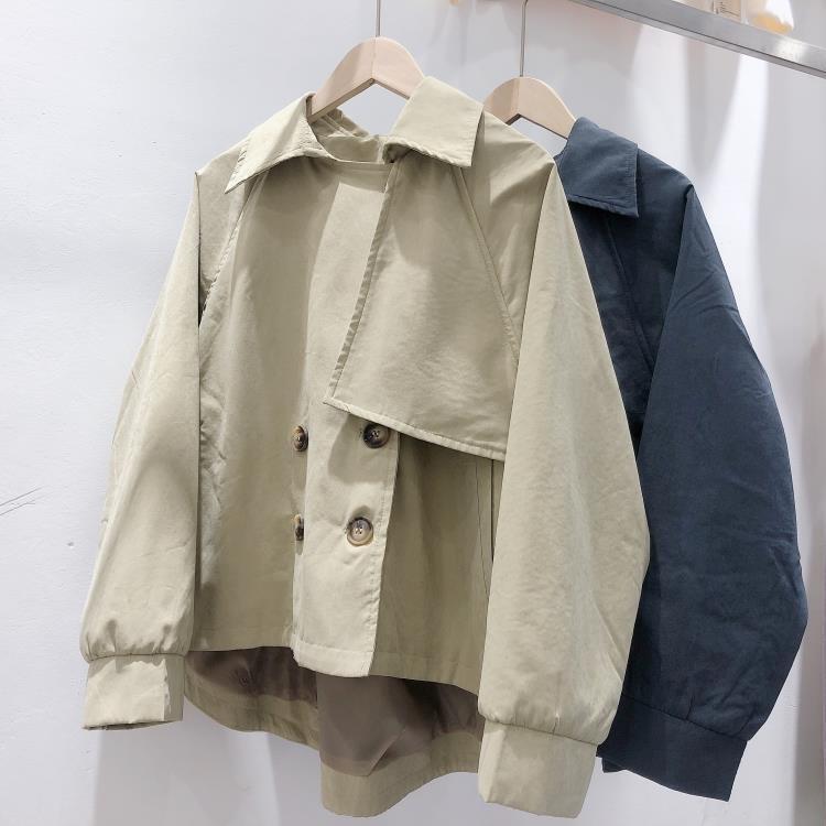 風衣外套 韓國2020秋季新復古小個子短款風衣女韓版chic寬鬆氣質外套【】 一縷清晨