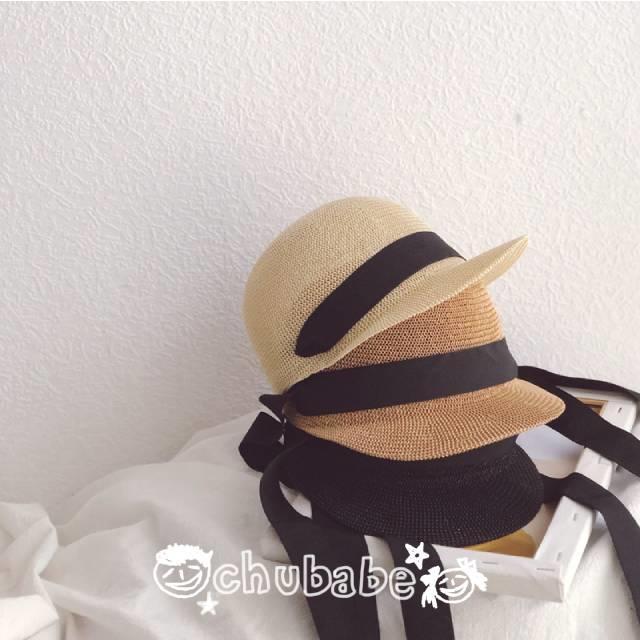 Chu Babe💋啾寶北。童裝🍭綁帶鴨舌草帽。編織★男寶女寶。時尚遮陽