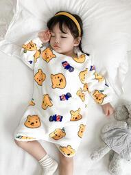 寶寶連體睡衣2用襠秋冬加絨加厚兒童家居服法蘭絨嬰兒睡袋防踢被