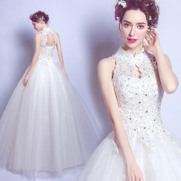 【快速出貨】禮服 蕾絲釘珠中式立領性感露背公主新娘修身齊地婚紗禮服2517夏季