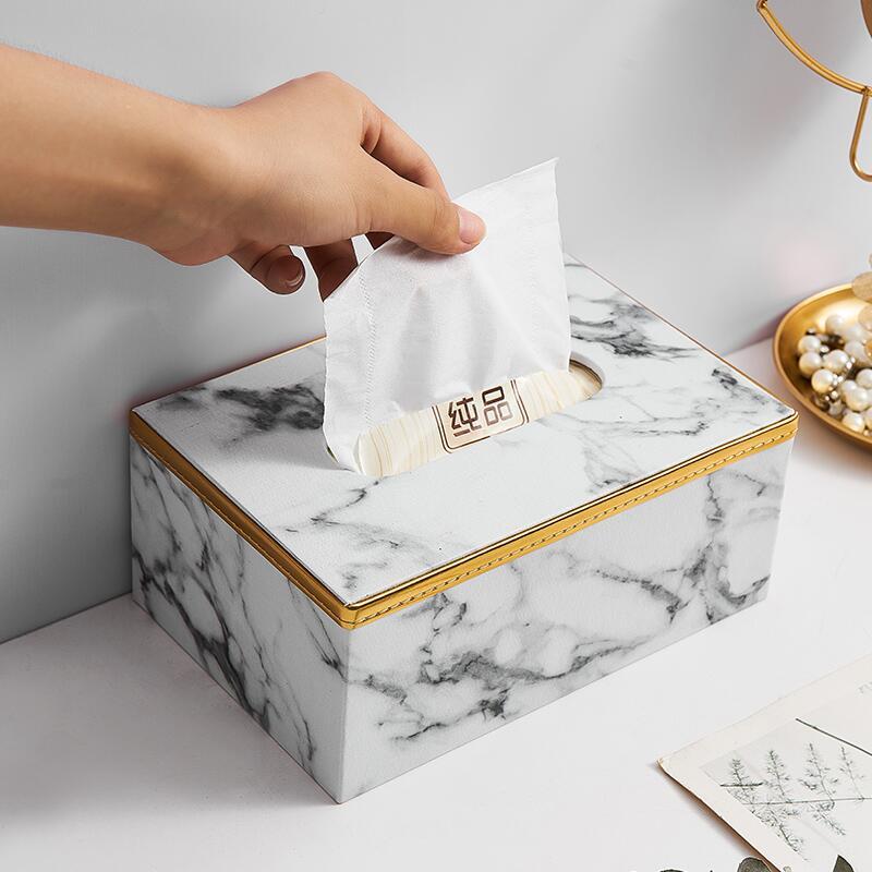 【快速出貨】 擺件 歐式創意輕奢紙巾盒擺件家用客廳餐桌家居桌面簡約大理石紋抽紙盒