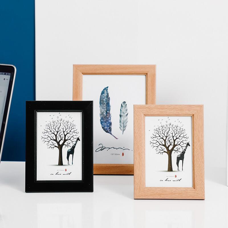 【快速出貨】 擺件 北歐實木相框擺臺5寸7寸木質創意簡約擺件客廳臥室辦公桌面裝飾品