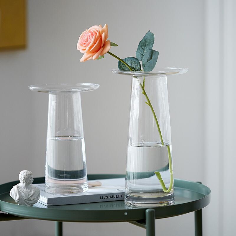 【快速出貨】 擺件 現代簡約透明玻璃花瓶北歐客廳創意水養插花鮮花擺件樣板房裝飾品