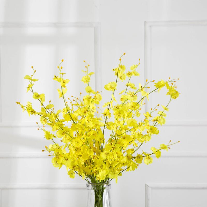 【快速出貨】 擺件 現代簡約客廳花束裝飾品仿真假花家居室內擺設跳舞蘭餐桌花藝擺件