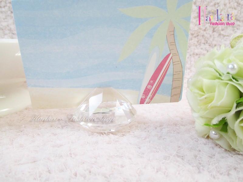 ☆[Hankaro]☆ 歐美創意婚禮小物透明水晶席位夾卡片架~(合併批發另洽)