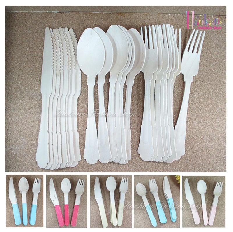 ☆[Hankaro]☆ 歐美創意派對布置道具木質免洗餐具刀叉匙組