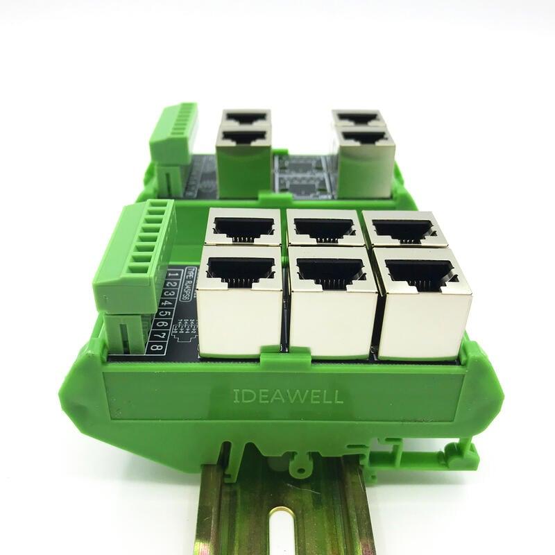 RJ45轉端子電路板網口轉接線端子集線模塊端子台組合23456孔插