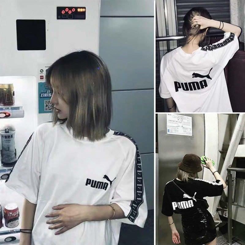 特價 puma彪馬 夏季韓版 學生寬松中長款串標短袖 運動t恤 男女 冰瓷棉 短袖上衣 T恤