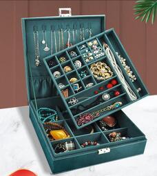 限時特賣-首飾收納盒歐式耳釘耳環項鏈手飾品大容量高檔家用耳飾奢華整理盒