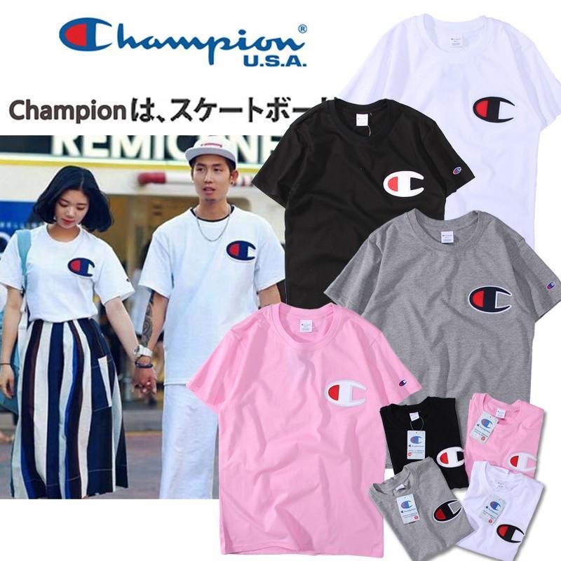 特價出清 日系冠軍短袖T恤 刺繡簡約LOGO champion純棉短T 百搭圓領純色TEE 情侶款T恤