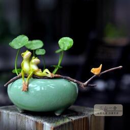 【糯米糰子】多肉創意花盆 新品個性青蛙陶瓷花盆青瓷銅錢草卡通文藝水培花器zaka禪意小花盆