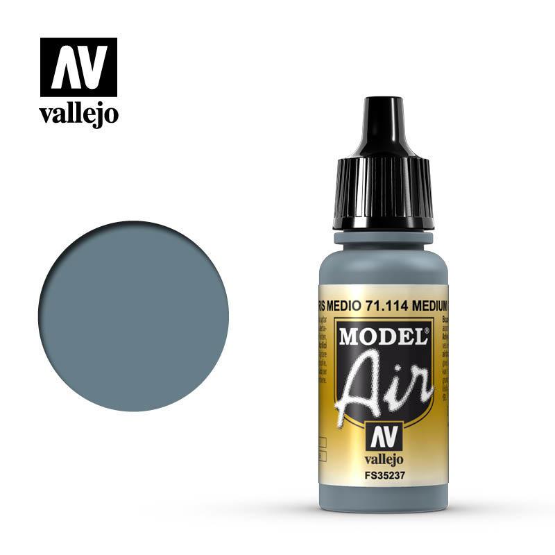 【奇模集】Vallejo Model Air 中階灰色 Medium Gray   71114