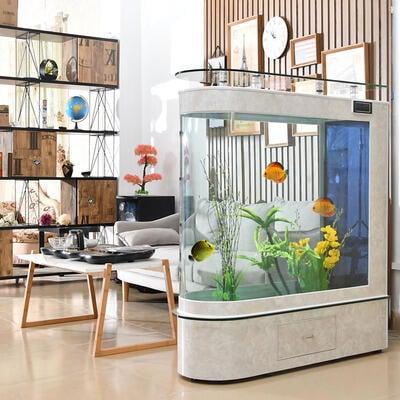 子彈頭魚缸家用客廳中小型魚缸水族箱玻璃落地屏風隔斷生態金魚缸