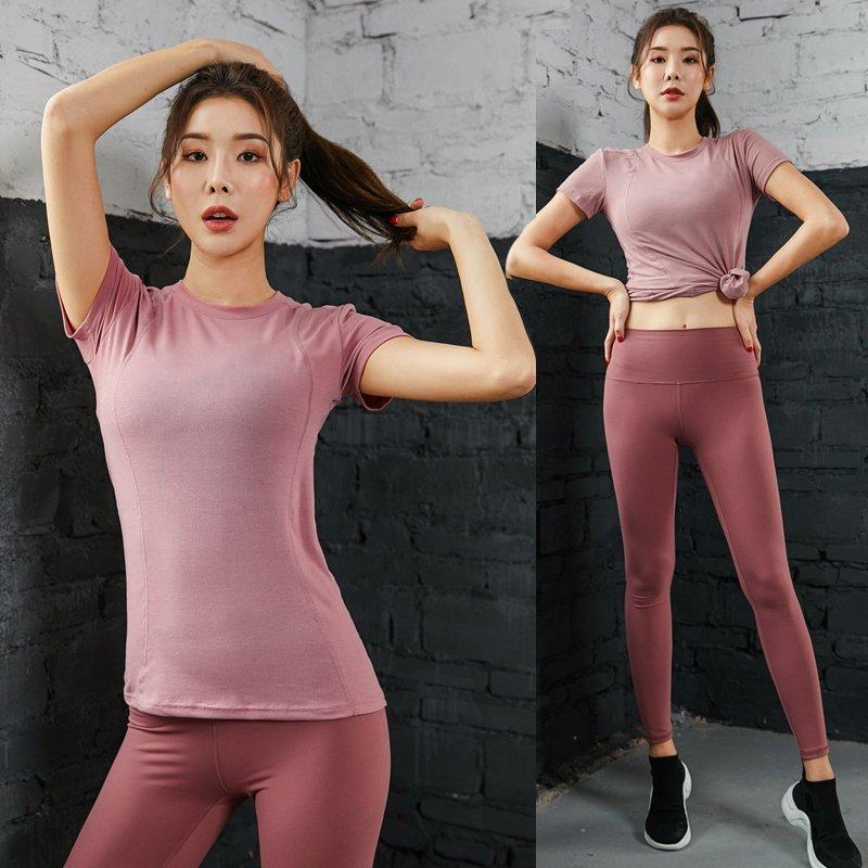 瑜伽 運動衣 運動套裝 健身服 跑步健身衣服運動上衣女長袖T恤跑步緊身罩衫速干ins瑜伽服女打底衫