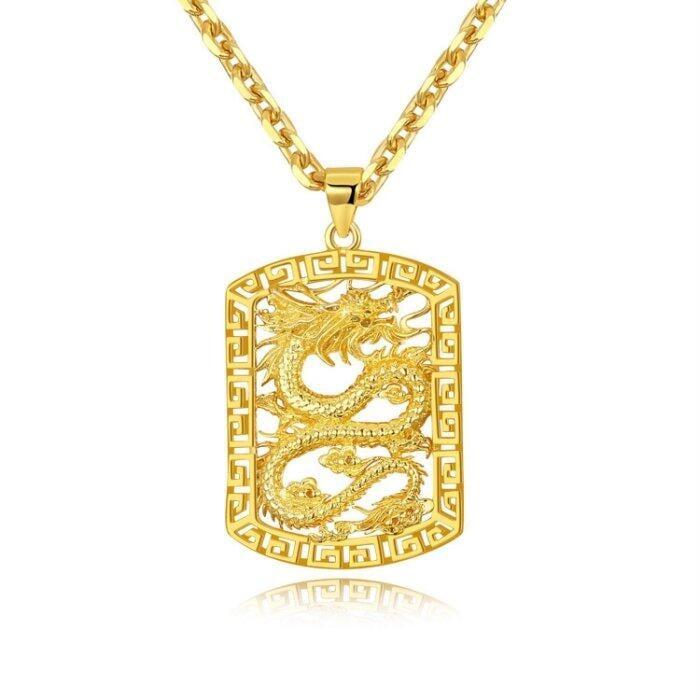 男士霸氣誇張首飾銅鍍18k金鏤空龍牌吊墜仿黃金型男個性項鍊N685