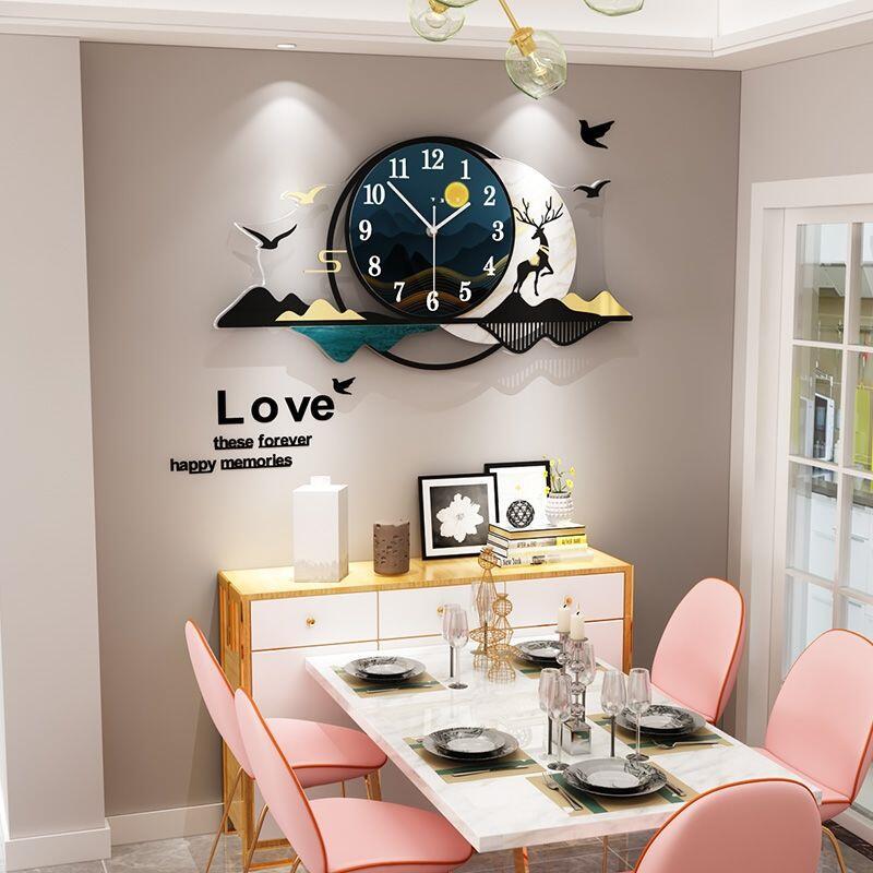輕奢客廳掛鐘大氣家用時尚鐘表現代簡約個性創意藝術裝飾時鐘掛墻