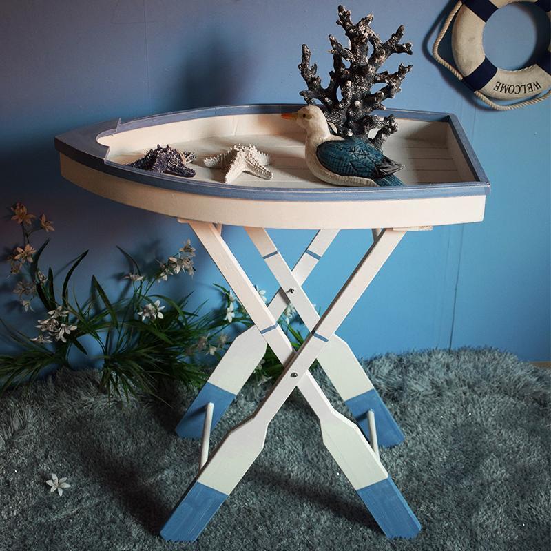 地中海風格船型折疊桌裝飾花架置物架創意海洋主題拍攝道具樣板房