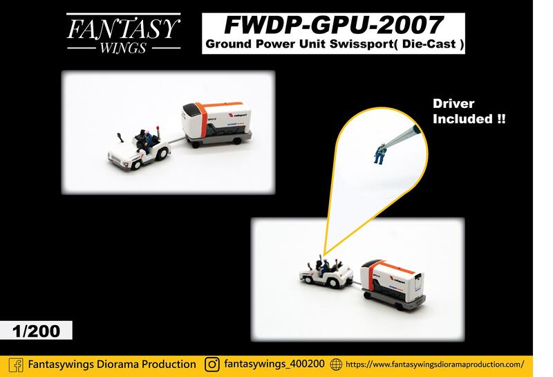 預購免運! FantasyWings 1/200 金屬 地面電源車 拖車 GPU 附駕駛員人偶 (瑞士國際空港)