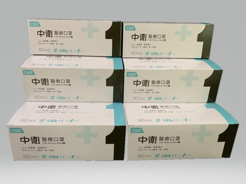 中衛成人醫療口罩 (50片/盒) - 藍色
