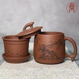 夏季必備保溫杯馬克杯陶瓷紫砂杯泡茶杯茶水分離帶蓋過濾內膽辦公室家用女士款陶瓷杯子男士  露天拍賣