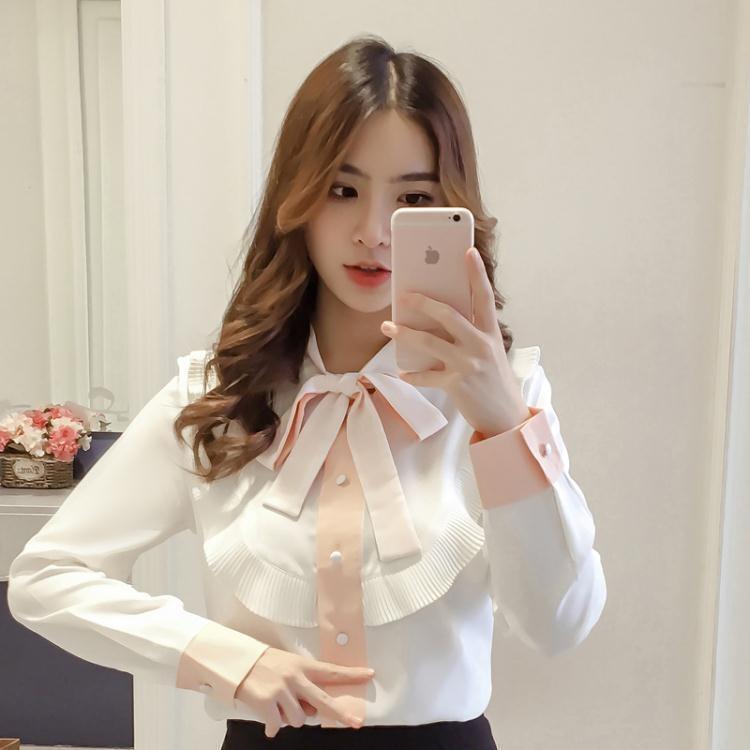 早秋新款韓版寬鬆顯瘦百搭蝴蝶結長袖雪紡衫女襯衣上衣打底衫