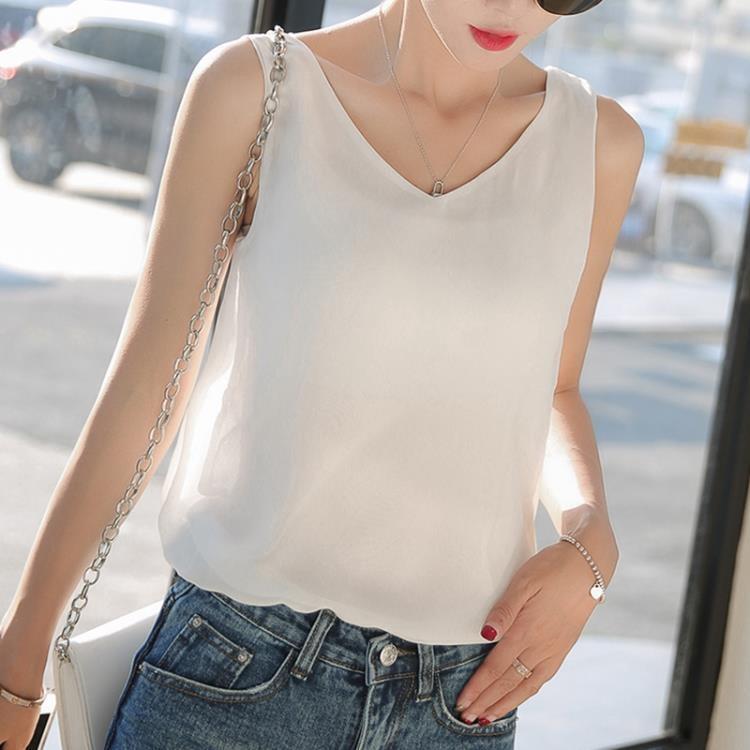上衣 雙層雪紡吊帶背心女韓版春夏短款寬鬆大碼女裝無袖上衣外穿打底衫