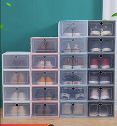 快速出貨-鞋盒收納盒20個裝放鞋子的鞋櫃盒子宿舍抽屜式透明鞋墻省空間神器買幾個送幾個