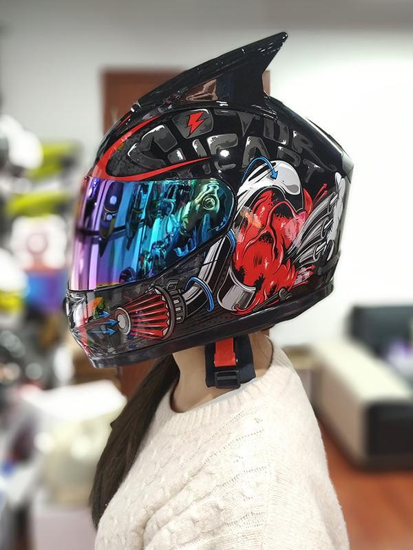 九折下殺!艾獅男女士電動車機車頭盔全盔個性酷四季冬季機車跑盔安全帽犄角
