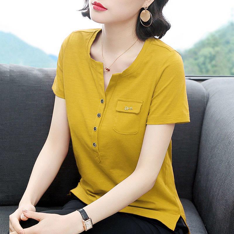 95%棉 2020夏季新款短袖t恤女韓版寬松半袖體恤衫大碼女裝V領上衣 襯衫 蕾絲雪紡衫 長袖襯衫 大尺碼