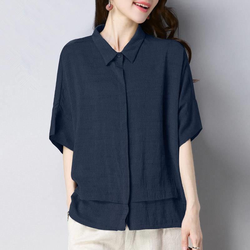 2020夏季新款大碼女裝80-200斤寬松顯瘦襯衫女純色上衣五分袖襯衣 襯衫 蕾絲雪紡衫 長袖襯衫 大尺碼