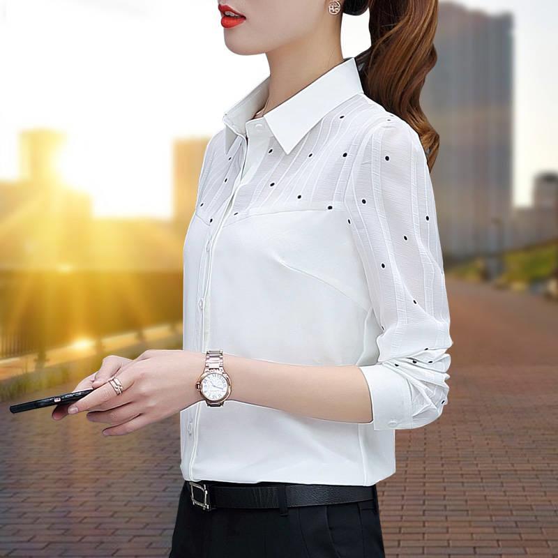 韓版春裝新款雪紡衫女襯衣職業通勤chic翻領大碼上衣長袖淑女襯衫 襯衫 蕾絲雪紡衫 長袖襯衫 大尺碼