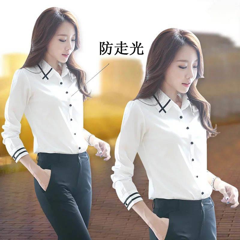 新款白色襯衫女長袖韓版大碼寬松ol職業裝女襯衣打底學生女襯衣 襯衫 蕾絲雪紡衫 長袖襯衫 大尺碼