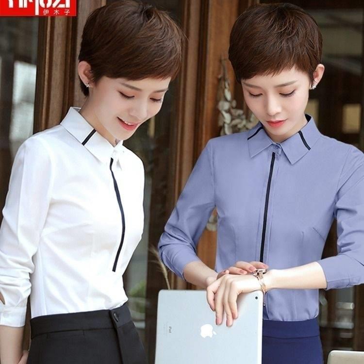 新款白襯衣女長袖修身顯瘦職業裝大碼工裝工作服韓版時尚打底襯衣 襯衫 蕾絲雪紡衫 長袖襯衫 大尺碼