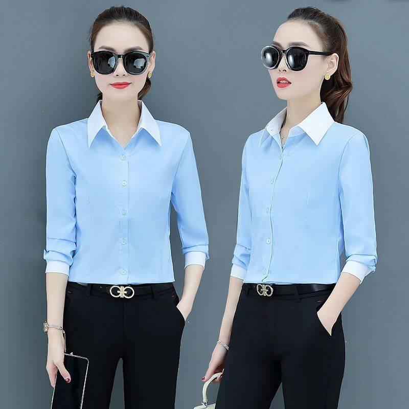 2020春裝新款韓版修身白襯衫女長袖顯瘦職業裝工作服打底衫女襯衣 襯衫 蕾絲雪紡衫 長袖襯衫 大尺碼