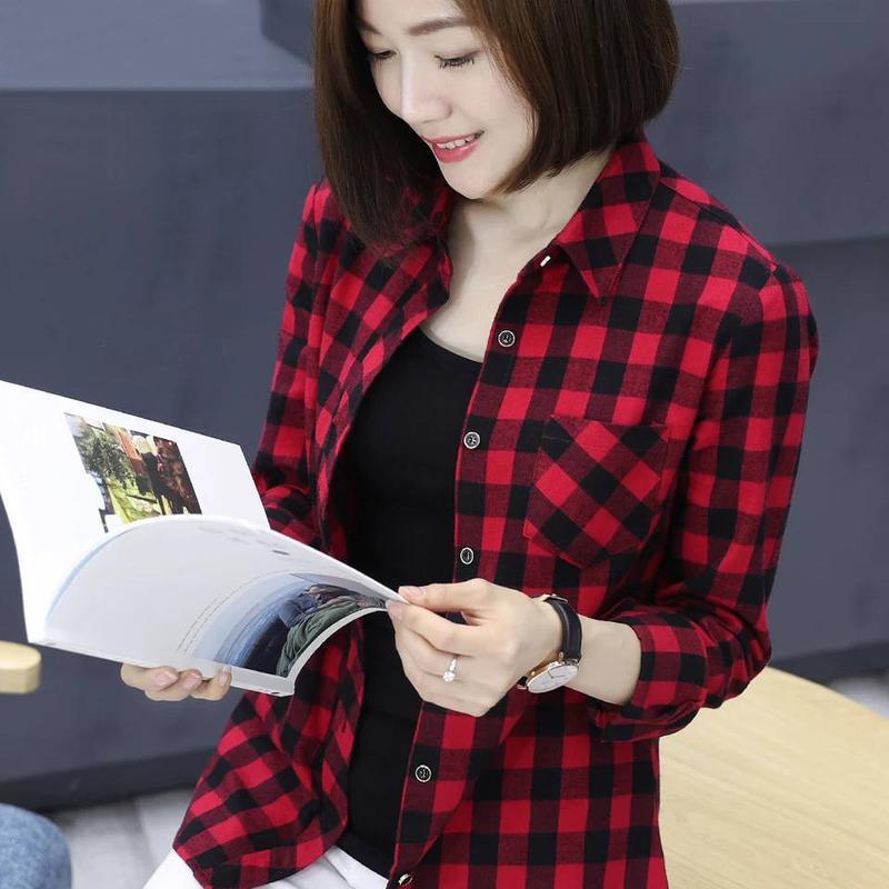 韓版秋裝方格襯衫薄款黑白格子外套女士休閑長袖襯衣寬松上衣 襯衫 蕾絲雪紡衫 長袖襯衫 大尺碼