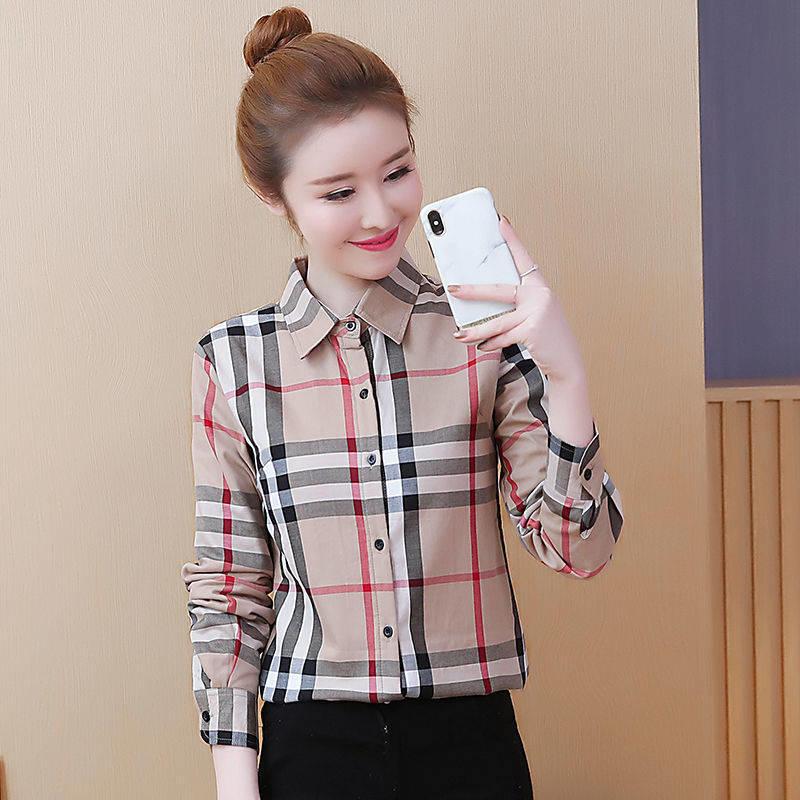 格子襯衫女長袖修身上衣女打底衫情侶學生韓版春秋季薄款防曬外套 襯衫 蕾絲雪紡衫 長袖襯衫 大尺碼
