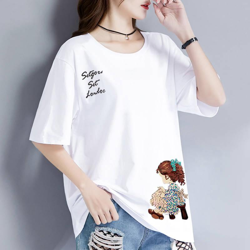 白色短袖95棉t恤女裝2020夏季新款韓版潮寬松大碼簡約體恤打底衫 襯衫 蕾絲雪紡衫 長袖襯衫 大尺碼