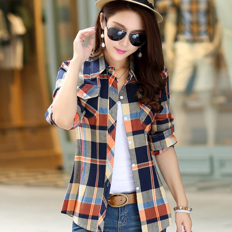 女士襯衫棉質格子襯衫女新款外套秋冬學生韓版寬松打底衫上衣襯衣 襯衫 蕾絲雪紡衫 長袖襯衫 大尺碼