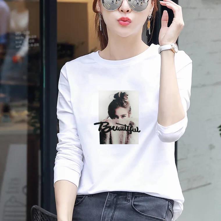 精梳優質棉白色t恤女長袖寬松韓版印花休閑圓領2020春新款打底衫 襯衫 蕾絲雪紡衫 長袖襯衫 大尺碼