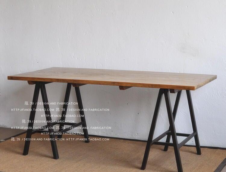 鐵藝實木餐桌松木大班臺辦公桌工作臺書桌組裝