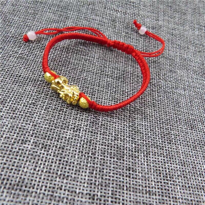 沙金貔貅紅繩手串 手鍊手環 招財咬錢 中國結伸縮式