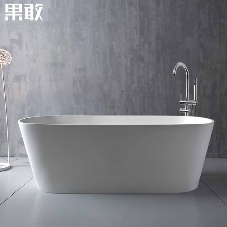 獨立式浴缸家用成人情侶小戶型薄邊彩色深保溫浴缸1.2 -1.7米 熊熊物語