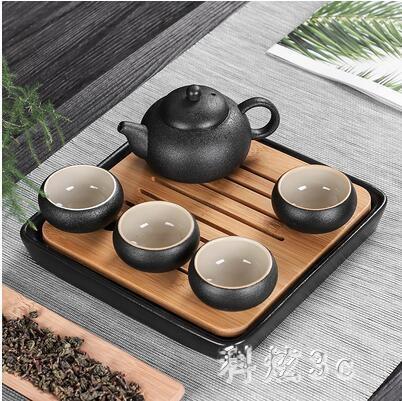 黑陶瓷功夫茶具套裝家用簡約干泡茶盤中日式杯壺旅行便攜酒店專用 aj7467『科炫3C』