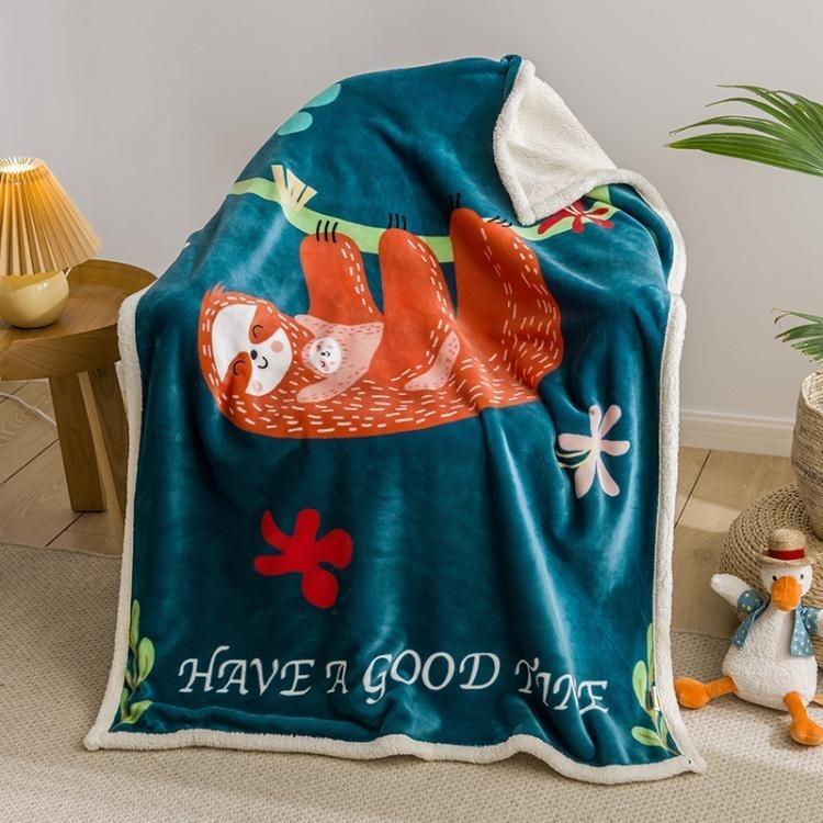 羊羔絨兒童毛毯雙層加厚法蘭絨午睡空調毯子瑜伽蓋毯 【雙十二下殺】
