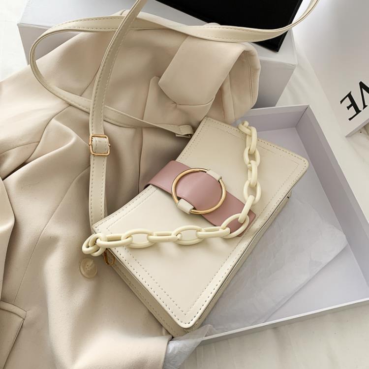 高級感包包女包2021新款潮港風斜挎包百搭時尚粗鏈條小方包單肩包 傑西卡