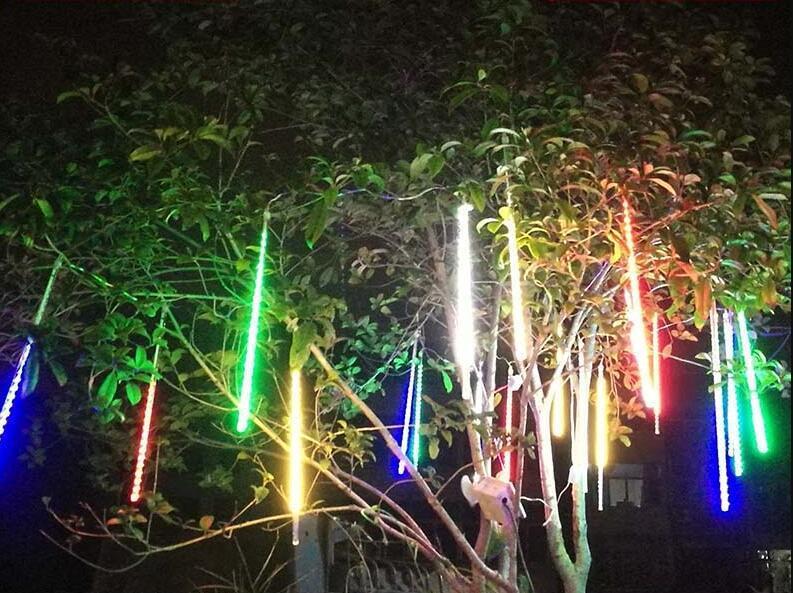 流星雨led流星燈七彩燈串護外防水掛樹上的燈庭院燈聖誕彩燈