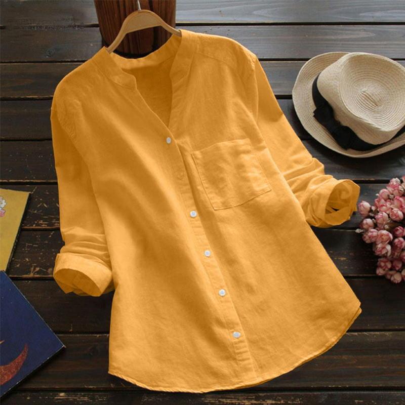 【高質感】2019爆款女裝上衣亞馬遜新款六色五碼棉麻長袖大碼休閒寬鬆襯衫休閒3