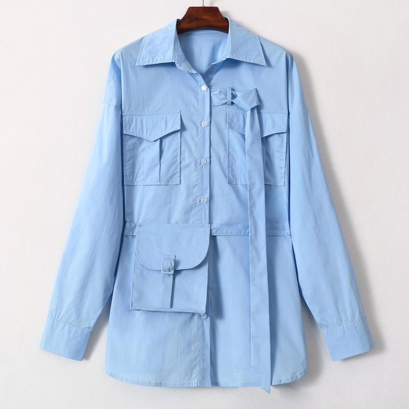 【超高CP值】外星女生柴小七同款韓版BF風藍色寬鬆長袖襯衫女2019秋裝新款襯衣男友風