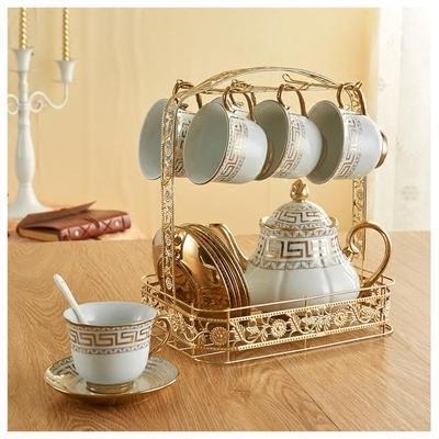 金色鐵架歐式咖啡杯架吊杯壺架不銹鋼6杯掛架水杯掛架茶杯置物架RM -果凍