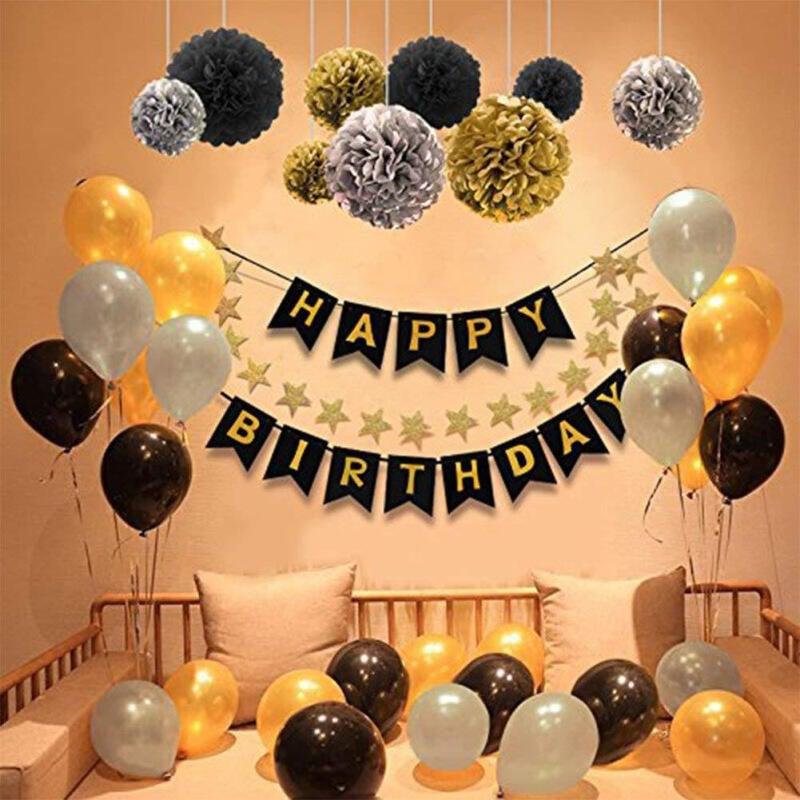 現貨在台 DIY佈置派對生日慶祝✔🎈🍷黑金生日派對裝飾用品紙花球生日拉旗紙串拉花氣球 懶人組合包